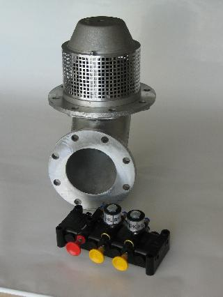 Pressure balanced, pneumatic actuated bottom valve according to EN13316 with over pressure function. Suitable for bottom loading. A strainer is standard. Different designs of housings are available.
