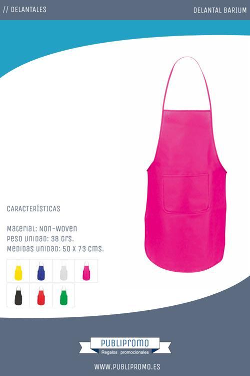 Este modelo está fabricado en material non-woven o tejido no tejido y dispone de un bolsillo central y dos áreas de marcaje para la serigrafía.