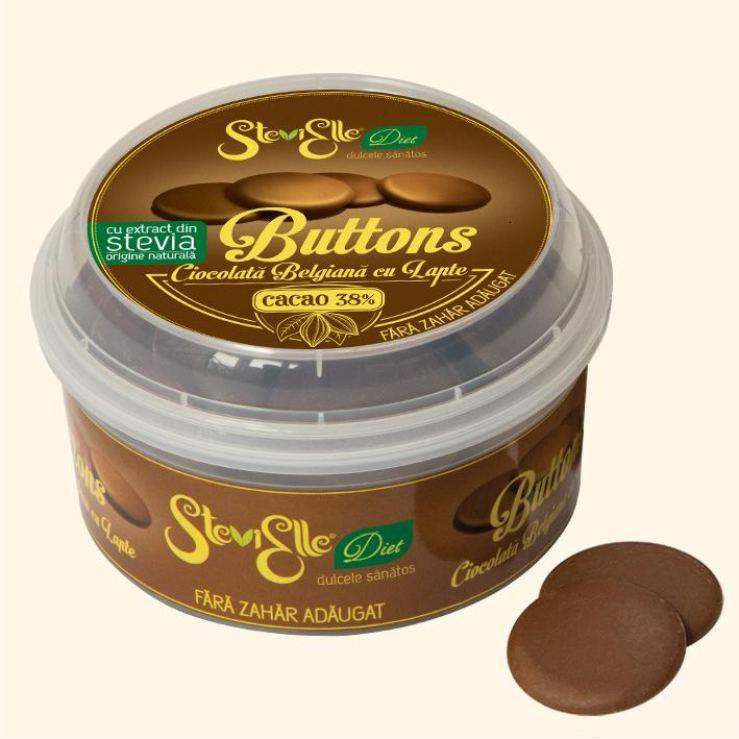 Belgian sugar free chocolate in buttons form, sweetened with STEVIA, suitable for chocolate bonbons, creams, cake coating, cookies, icecream etc. Cocoa 38%, milk 25,8%. Guilt free and delicious!