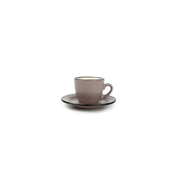 Service à café 12 pièces composé de 6 tasses + 6 sous tasses.  - Contenance : 8 cl - Matériau : Grés céramique - Couleurs disponibles : Gris/ Rouge