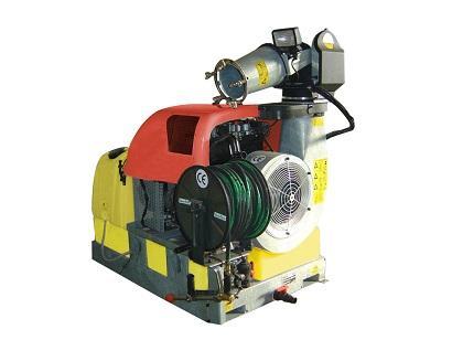 Cañón de aire para los profesionales de la desinfestación. Deposito de 300 L. Motor Lombardini 28 HP que consigue lanzar el producto a 22/25 metros. Sistema lavacircuito y lavamanos.