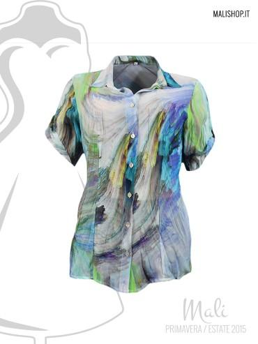 Camicia fantasia manica corta 100% viscosa. made in italy