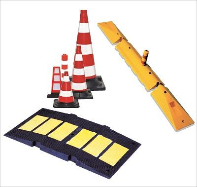 Road safety products: speed bump, road cones and lane delineator