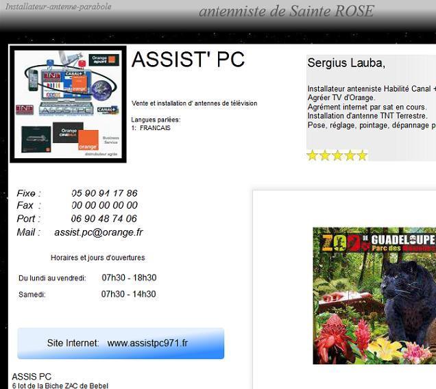 Page d'accueil d'un antenniste de la Guadeloupe