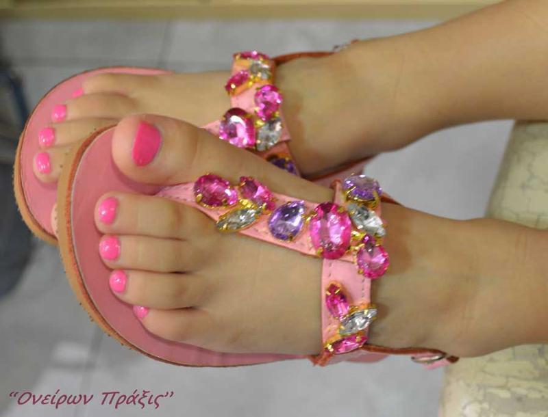 Ελληνικά χειροποίητα σανδάλια για μικρές πριγκίπισσες !!!