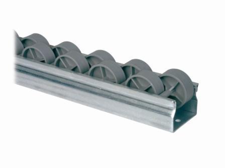 Minicarril Riel de Roldanas Partida para maximizar los puntos de contacto en el desplazamiento de cajas. Ideal para automoción. Para cajas tipo KLT o plásticas.