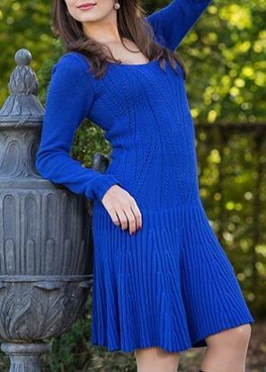 acrylic wool fine gauge knitwear dress for lady