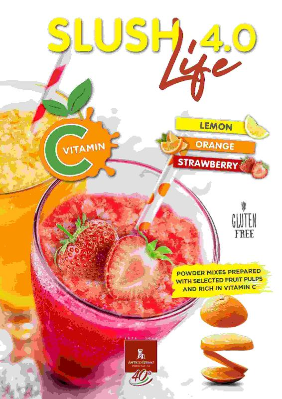 Fruity slush flavours mixes with pulps  and Vitamin C