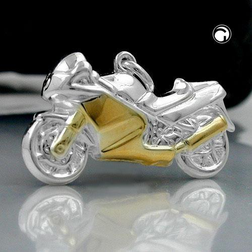 Pendentif, moto, Argent 925  Taille: 15 x 27 mm  Poids: 1,61 g , Il s'agit d'un pendentif sportif et à la mode pour les motards.  Il est entièrement formé des deux côtés et a un beau design bicolore