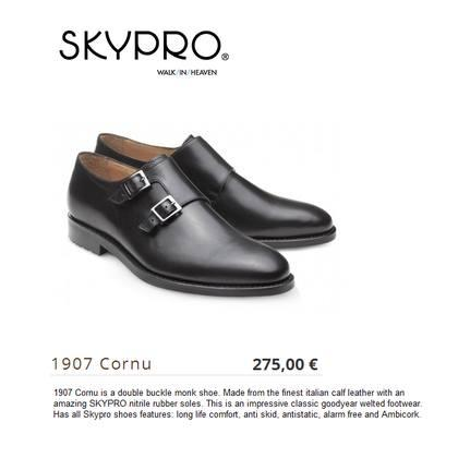 Airline shoes - 1907 Cornu is a double buckle monk shoe. Made from the finest italian calf leather with an amazing SKYPRO nitrile rubber soles.