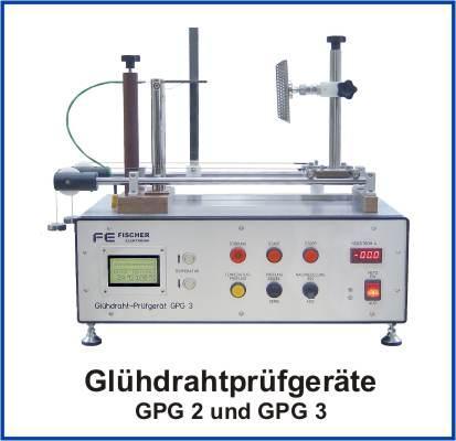 Automatisches prozessorgesteuertes Glühdrahtprüfgerät GPG 3 zur Glühdrahtprüfung nach DIN EN 60695-2 an Werkstoffen, Enderzeugnissen und Baugruppen.