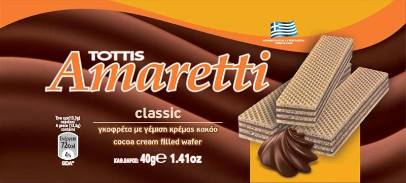 AMARETTI cocoa cream filled wafer 40gr
