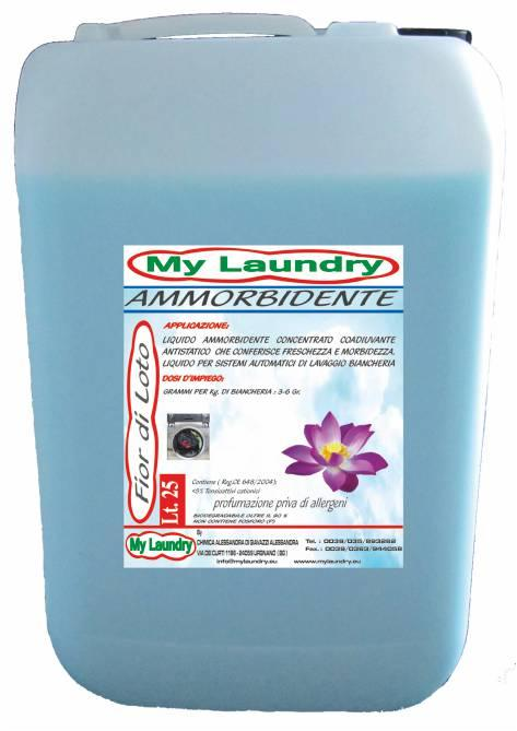Adjuvant final rinse with softening action for fabric and fiber. It gives a pleasant fragrance of long-lasting freshness and cleanliness. Fragrances all allergen-free: Lotus flower; ash; lavender...