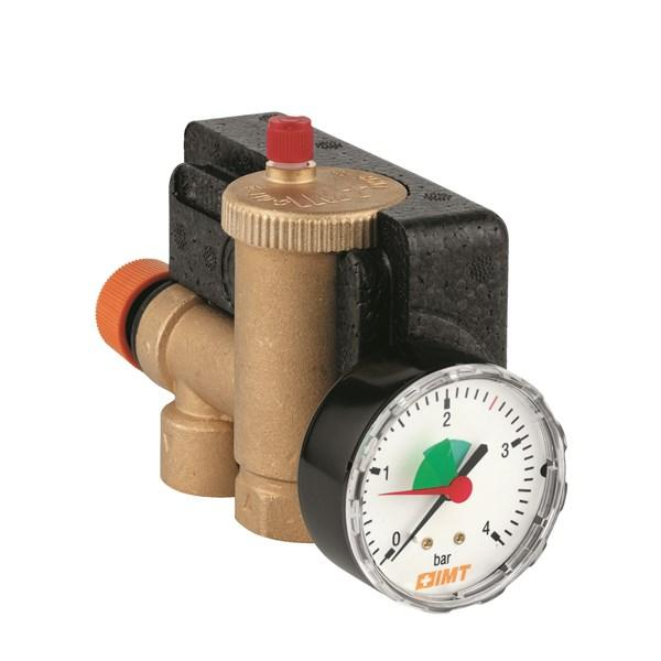 Boiler Safety Group compact, consisting of integrated pressure relief valve, integrated air vent and pressure gauge. Complete with insulating cover