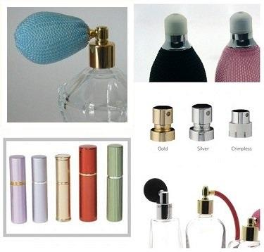 Bulbs atomizers and pumps for perfumery.