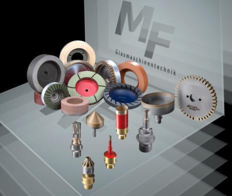 Werkzeuge und Zubehör für Glasbearbeitungsmaschinen