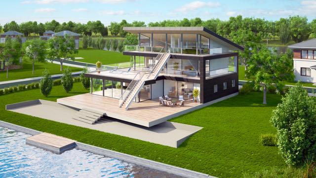 Designed for a stunning waterfront location, with far reaching surrounding views, a very original concept over three levels, and          large expanses of glass. But still realistically priced.