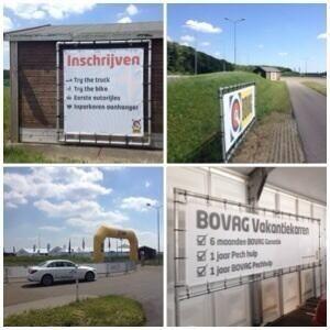 Totale verzorging van productie en handling, plaatsing prints banners, doeken, bogen tijdens (sport) events in Nederland en Europa