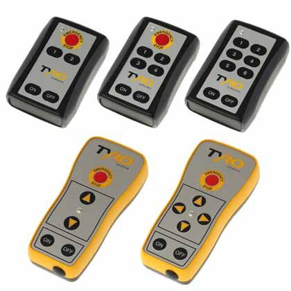 Compact industrial push-button radio remote control with STOP-button and IP65 protection rate.