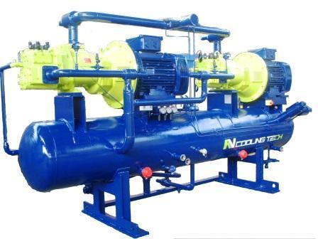 Grupo Motocompresor con dos compresores Bitzer de tornillo diseñado y fabricado por RV Cooling Tech.