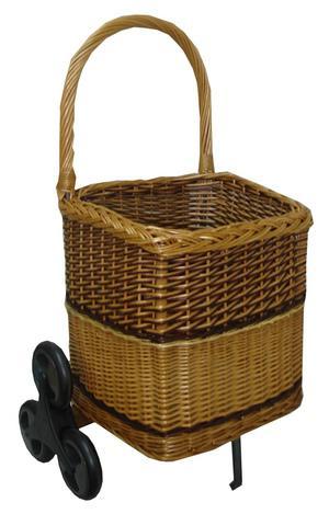 Chariot à bois en osier 6 roues pour escalier - La Vannerie d'Aujourd'hui