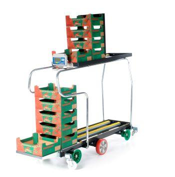 Trolley for harvesting equipped with a scale. Very popoular for small and medium area greenhouses.