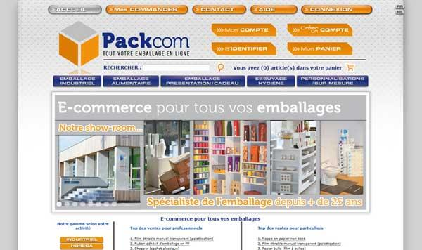 page d'accueil e-commerce emballage