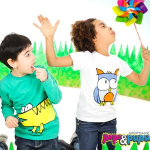 Colorful organic cotton T shirts with animal prints.