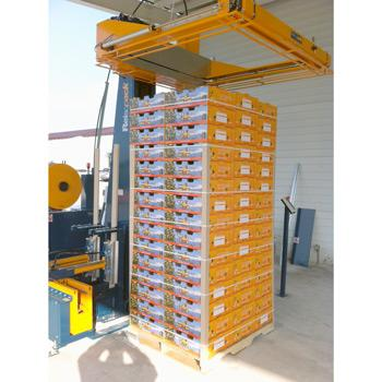 Pallet strapping machine with automatic edge protector locator system. Horizontal strapping of fruit pallets. Reisopack strapping machines worldwide.