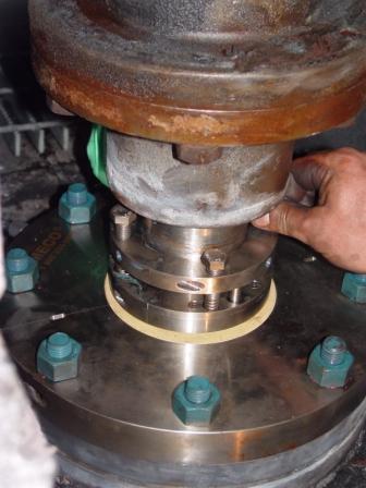 Garniture mécanique MECO OFS, fixée sur un agitateur avec une arbre de 90mm. Produit: Phthalate ester.