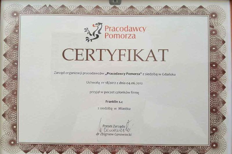 Pracodawcy Pomorza - Certyfikat członkostwa