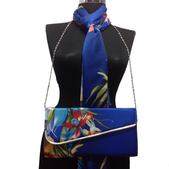 Blue scarf and bag combine