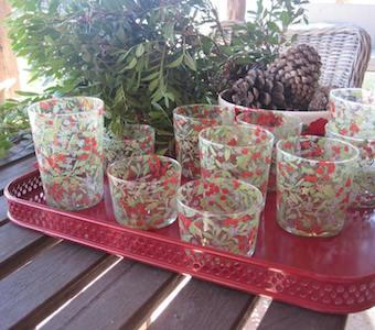Glasses decorated with Christmas print, matching our ceramic tableware. 3 sizes available (soda, water & wine glasses). To be used also as flower vases, candleholders and decoration.