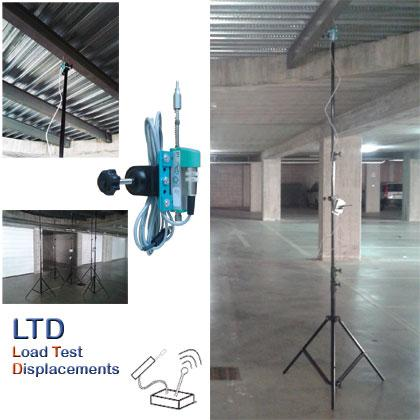 Kit wireless for digital measurement of subsidence of the floors during load tests of structural testing.