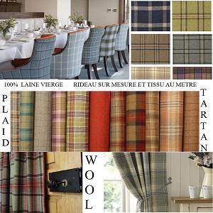 Custom curtain, wool tartan plaid fabric luxury