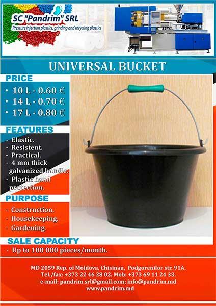 Multipurpose plastic bucket with galvanized metal handle.