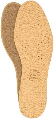 Leather insoles on cork