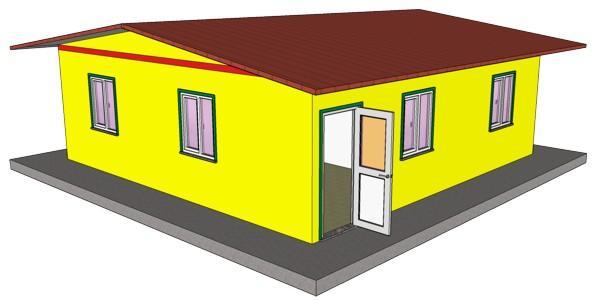 ANNA ECO è una casa composta da una spazio living (soggiorno + cucina), tre camere da letto, un bagno con antibagno per un totale di circa 63 mq di superficie calpestabil