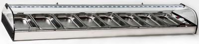 Vitrina refrigerada de GRUPO REMOTO con carga de Gas R-134a incluida.Fabricada en 6-8-10 cubetas Gastronorm 1/3.1500x380x180