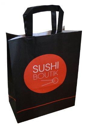 Sac papier kraft poignées plates Sushi Boutik