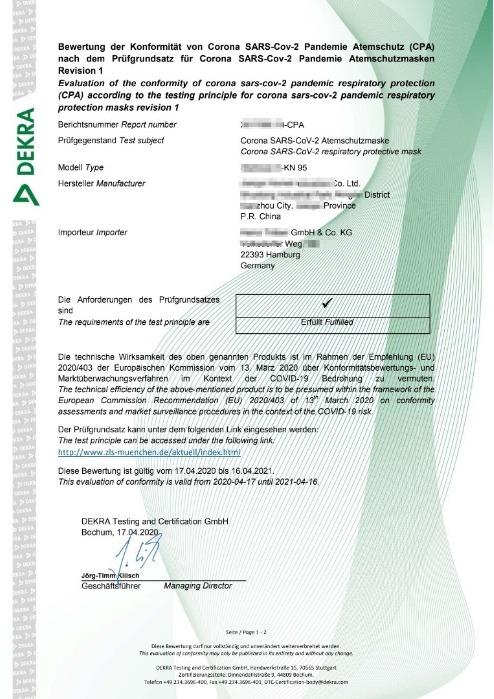 DEKRA Cert for Germany Market
