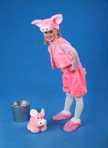 Fleece carnival costume Piglet (Height 128 cm)