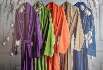 Different qualities in bathrobes in wide variety of colours
