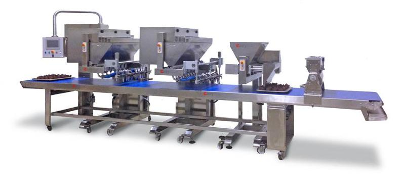Special line for dosing semi liquid dough mix.  It is possible to add also the extention cups denester for automatic pick up of the cups. Possibility to have the injection system for muffin's filling.