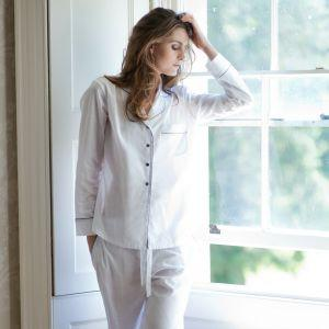 Handcrafted using fine Portuguese cotton voile, mother of pearl buttons, silk satin piping. Can be made to client's specifications. Organic Cotton Nightwear | Women's Loungewear | Made in EU