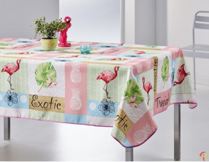 Nappe rectangulaire anti tâche – Flamant Rose