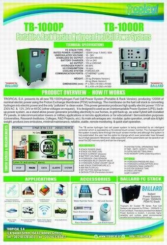 FUEL CELL GENERATOR WITH MAX. CAP. 1200W