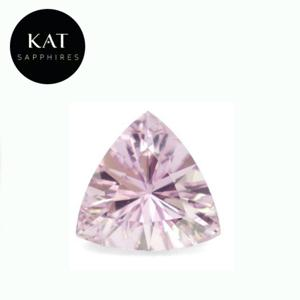 1.04ct Unheated Trillion Cut Soft Pink Madagascar Sapphire. The exceptional faceting on this stone creates a gorgeous amount of brilliance and sparkle.