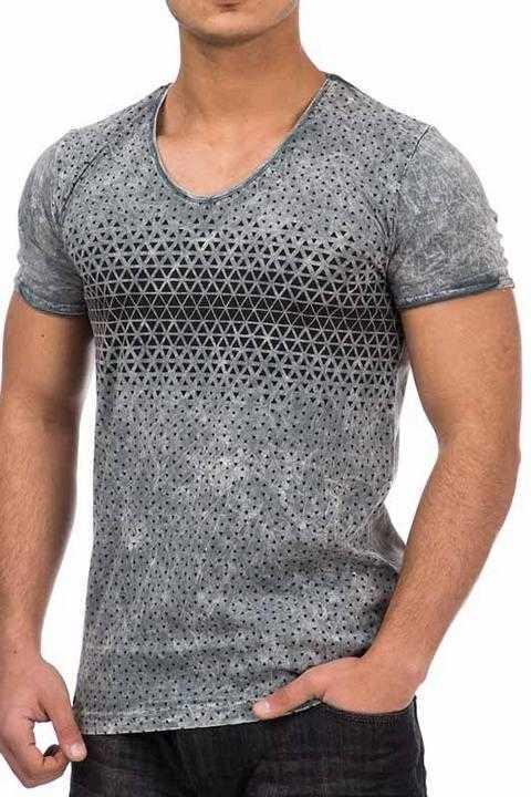 Tazzio T-Shirt in anthracit with a black printed pattern on breast height