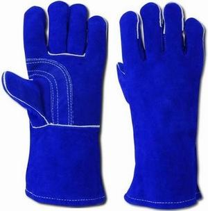 Blue Premium Quality Cowhide Split Leather With Full Cotton Lining 												Customized Logo and Label As Per Your Demand Packaging									72 pair per carton and 400 Fit 1x20